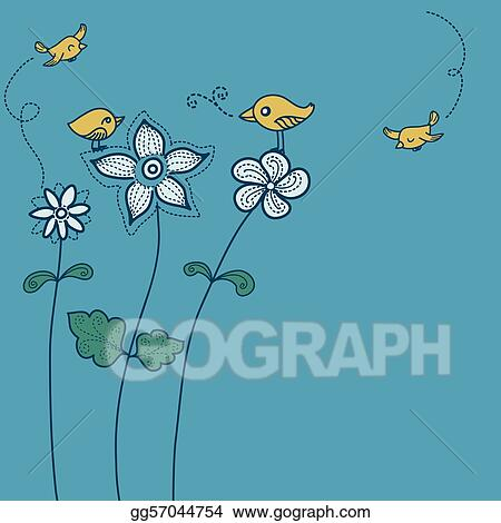 Floral Cute Bird Background Color