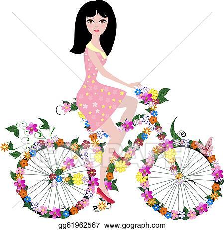 Vector Art - Flower girl on bike. Clipart Drawing gg61962567 - GoGraph