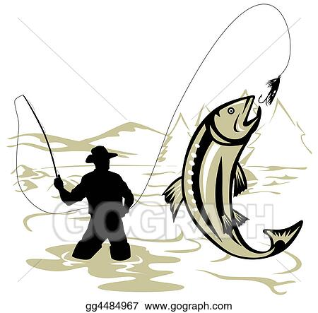 Clip Art Fly Fishing Clip Art stock illustration fly fishing clipart drawing gg4484967 gograph on gg4484967