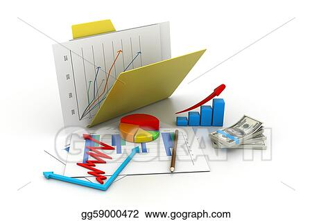 Folder with business chart, graph