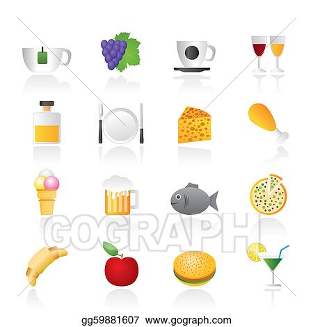 Stock Illustration - Food, Drink and beverage icons . Clip ...  Stock Illustrat...