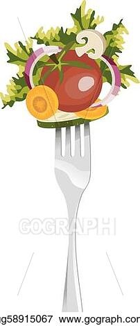 Fork and vegetables composition.