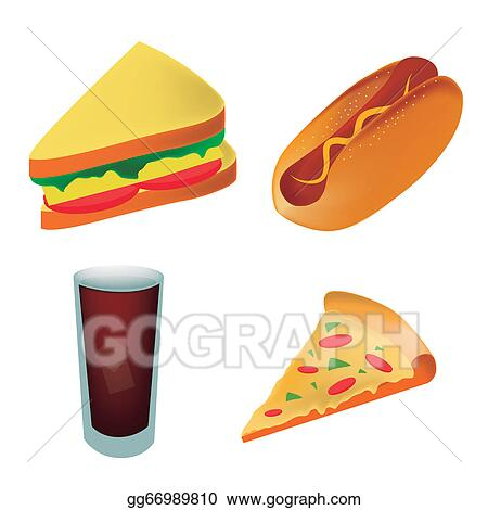 Vector Stock - Four icons of fast food representing a pizza ...