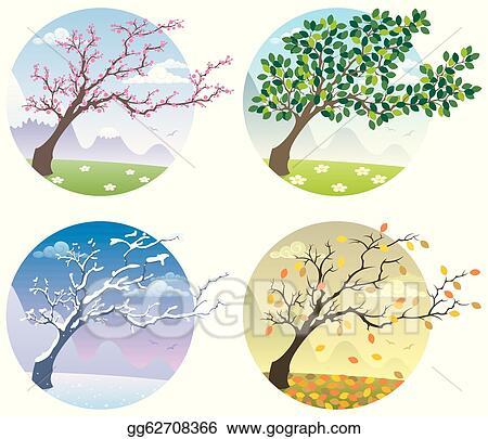 Illustration cartoon illustration of a tree during the four seasons