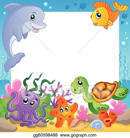 Underwater Animals Clipart Frame with underwater animals
