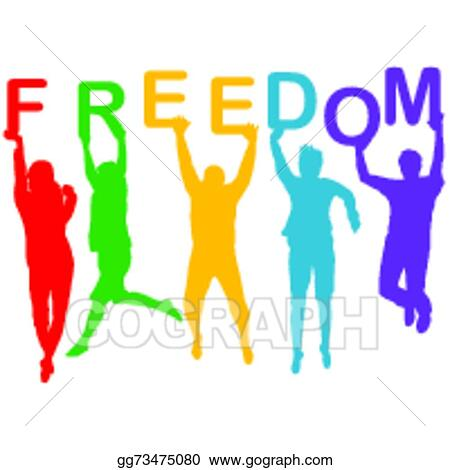 Vector Clipart - Freedom concept with people jumping silhouettes ...