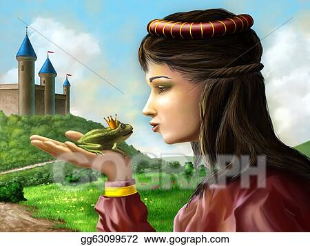 Stock illustration young princess kissing a frog sitting on her hand