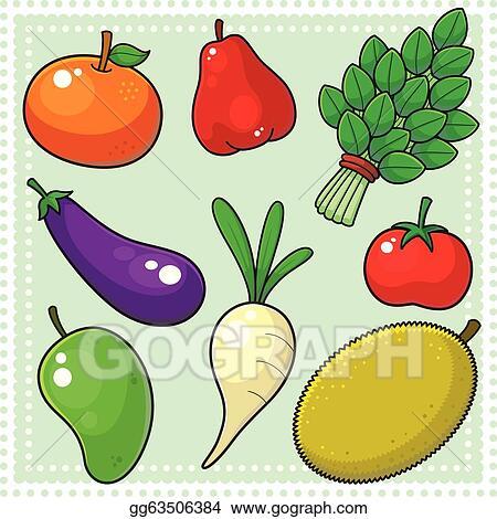 Vector Art - Fruits & vegetables 02. Clipart Drawing ...  Vector Art - Fr...