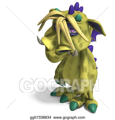 funny and colorful cartoon monster. 3D rendering with clipping path and shadow over white