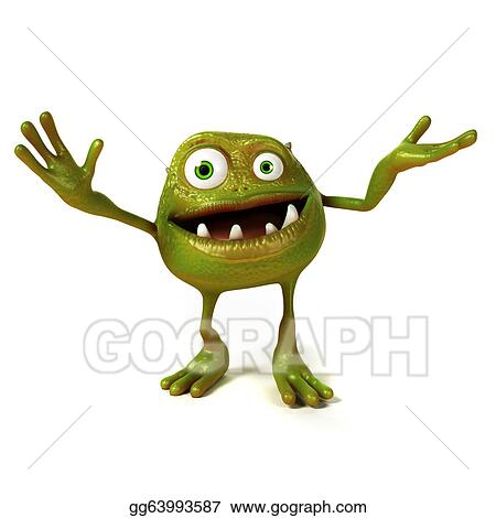 Stock illustration 3d rendered illustration of a funny bacteria toon
