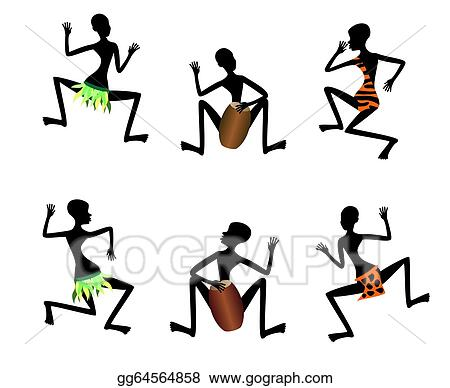Vector Illustration - Funny dance of black people, vector. Stock ...