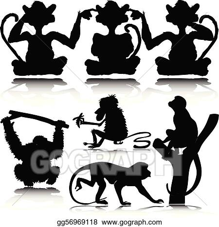 Stock Illustration - Funny monkey vector silhouettes. Clipart ...