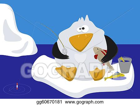 Funny penguin fishing on ice