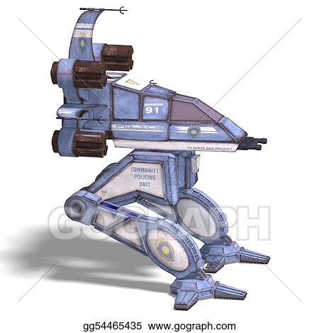 Spaceship with clipping path and shadow over white clipart gg54465435
