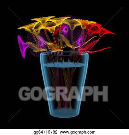 Gerber flowers in a bucket (3D xray multicoloured and blue transparent)