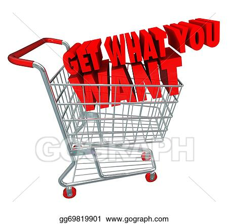 Drawing get what you want words in a 3d shopping cart as for How to buy goods online