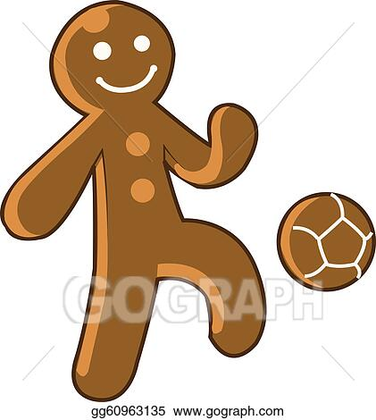 Vector Art - Gingerbread kid playing soccer. Clipart Drawing ...
