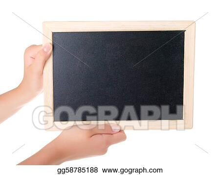 girl Holding Blank Chalkboard Isolated on a White Background.