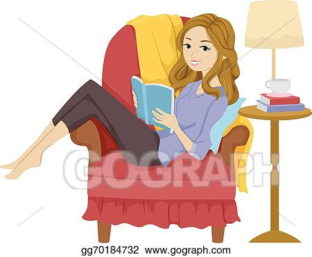 Vector Clipart - Girl reading book. Vector Illustration ...