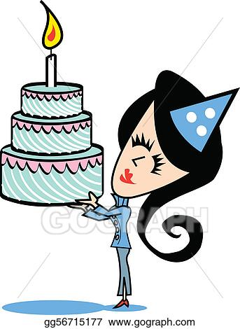 Clip  Birthday Cake on Clipart   Girl With Birthday Cake Clip Art  Stock Illustration