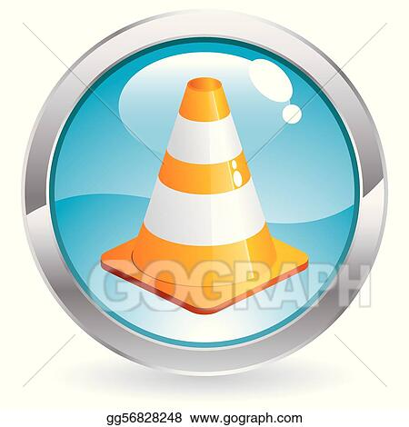 Gloss Button with Traffic Cone