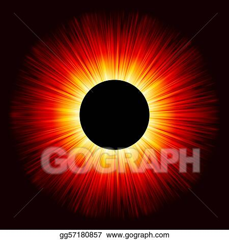 Glowing eclipse on a solid black background. EPS 8