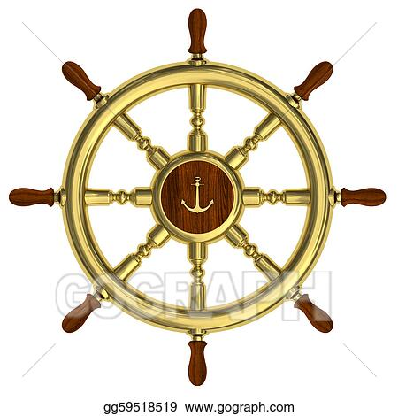 Golden nautical wheel isolated on white