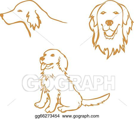 Stock Illustration - Golden Retriever outline, vector clipart. Stock ...