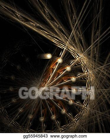 Golden wheel fractal background