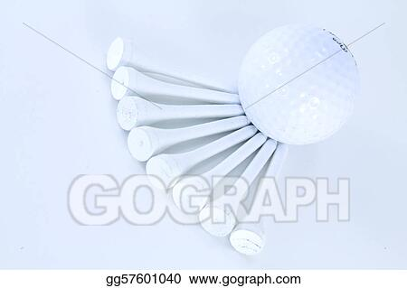 Golf Ball and several white tees