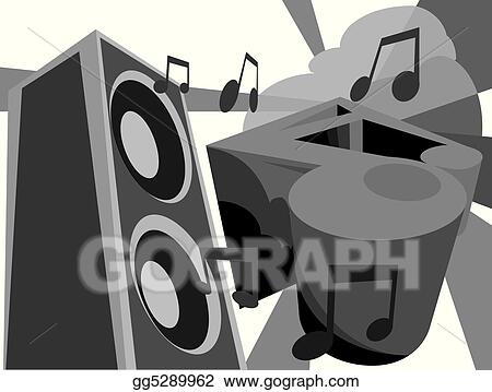 graffiti style image of a speaker and music