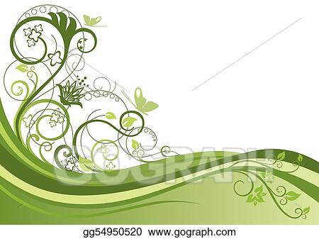 Green floral border design 1