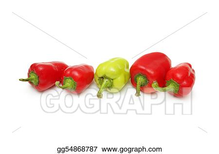 Green Pepper standing out from the crowd of red peppers