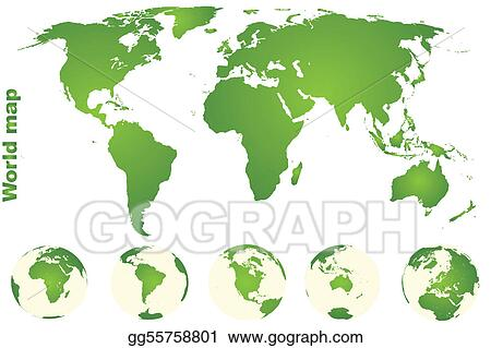 Green world map with Earth globes