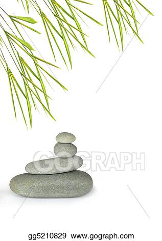 Grey spa treatment stones in perfect balance with bamboo leaf grass, over white background.