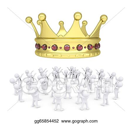 Group of white people worshiping crown Stock Illustration gg65854452