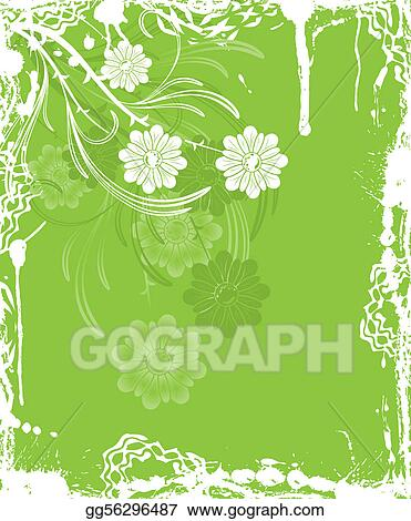 Grunge floral background, elements for design, vector