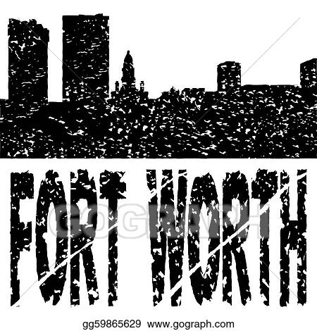 Grunge Fort Worth skyline with text illustration