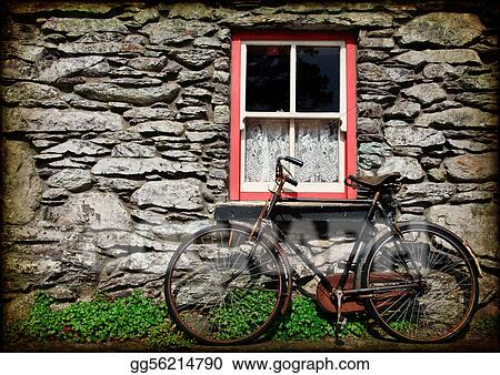 grunge texture rural irish cottage with bicycle