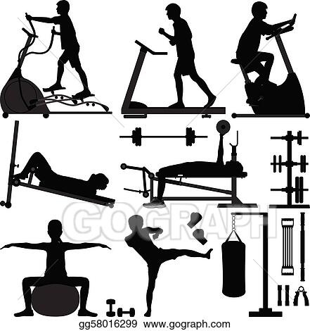 The Workout at Gym Clip Art