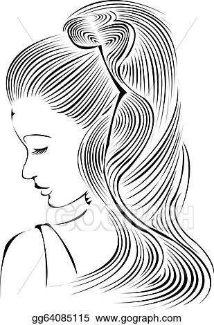 Stock illustration hairstyle fashion model clipart illustrations Dark brown hairstyles