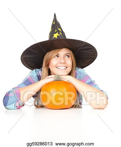 Halloween Witch with orange pumpkin, white background