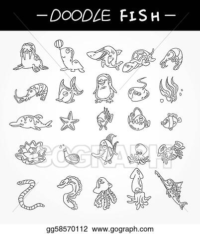 hand draw aquarium fish icons set