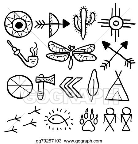 Vector Stock - Hand drawn doodle vector native american symbols ...