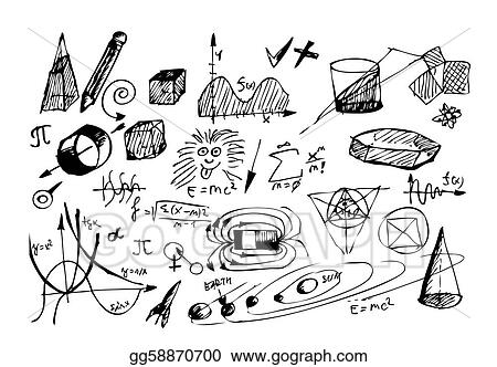 Stock illustration hand drawn math and physic symbols isolated on