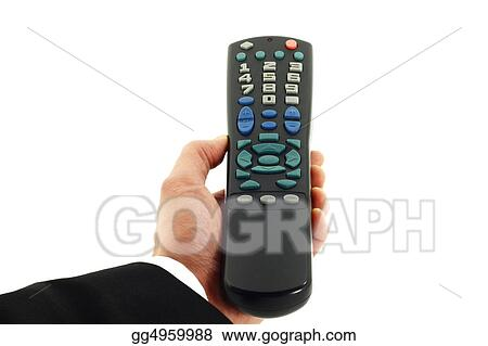 Hand Holding Remote Control Isolated on White