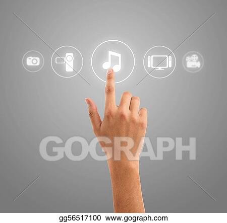 Hand pressing music note symbol from media icons