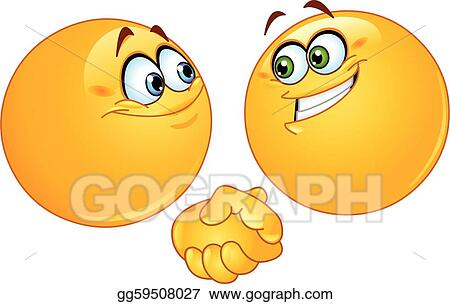 Vector Art - Handshake emoticons. Clipart Drawing ...
