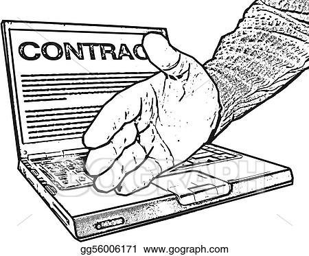 Handshake, laptop, contract