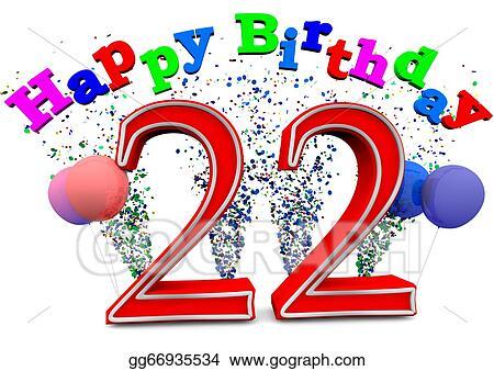 Clip Art Happy 22th Birthday Stock Illustration